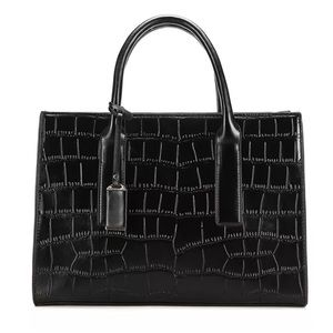 H&M Black Faux Croc Print Handbag